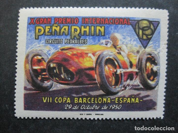 Sellos: VII COPA BARCELONA-X GRAN PREMIO PEÑA RHIN-OCTUBRE 1950-VIÑETA-VER FOTOS-(76.331) - Foto 2 - 229413220