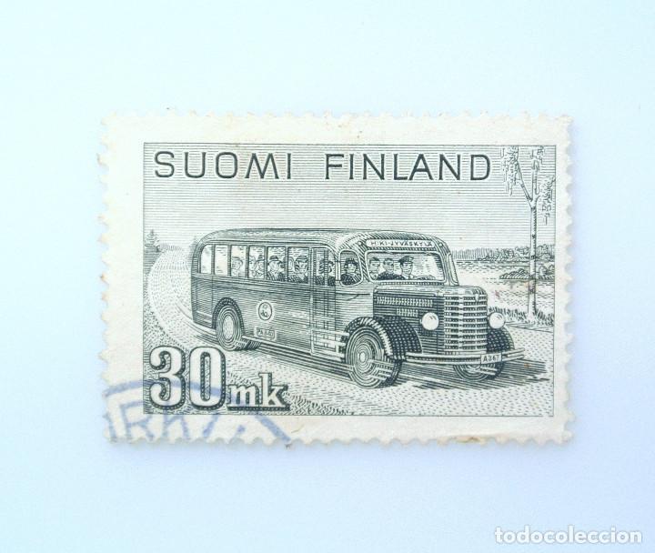 SELLO POSTAL FINLANDIA 1947, 30 MK, CORREOS Y AUTOCARES DE VIAJE, USADO (Sellos - Temáticas - Automóviles)