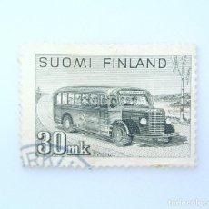 Sellos: SELLO POSTAL FINLANDIA 1947, 30 MK, CORREOS Y AUTOCARES DE VIAJE, USADO. Lote 229972900