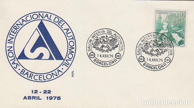 AÑO 1975, SALON INTERNACIONAL DEL AUTOMOVIL DE BARCELONA, SOBRE DE ALFIL (Sellos - Temáticas - Automóviles)