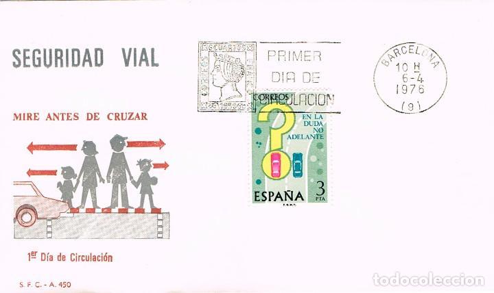 EDIFIL 2313, ADELANTAMIENTOS, EN LA DUDA NO ADELANTE (SEGURIDAD VIAL), PRIMER DIA DE 6-4-1976 SFC (Sellos - Temáticas - Automóviles)