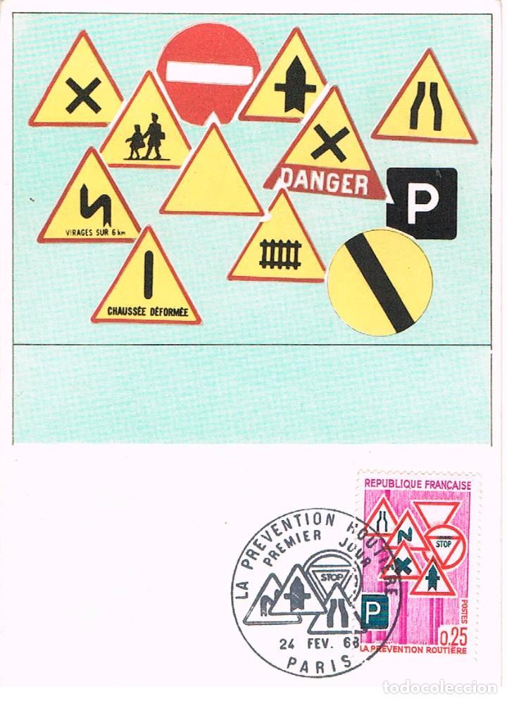 FRANCIA IVERT Nº 1548, CAMPAÑA PARA LA SEGURIDAD EN CARETERA, TARJETA MÁXIMA DEL 24-2-1968 (Sellos - Temáticas - Automóviles)