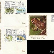 Sellos: EDIFIL 2272/6, FAUNA HISPANICA 1975, PRIMER DIA DE 9-7-1975 EN 3 SOBRES DE MUNDO FILATELICO. Lote 235124810
