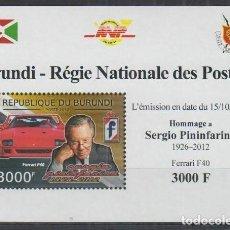 Sellos: BURUNDI 2012 HOJA BLOQUE SELLOS AUTOS COCHES HOMENAJE A SERGIO PININFARINA - FERRARI. Lote 235841430