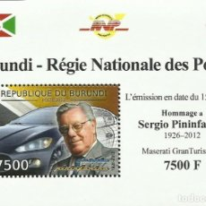 Sellos: BURUNDI 2012 HOJA BLOQUE SELLOS AUTOS COCHES HOMENAJE A SERGIO PININFARINA - MASERATI. Lote 235842055