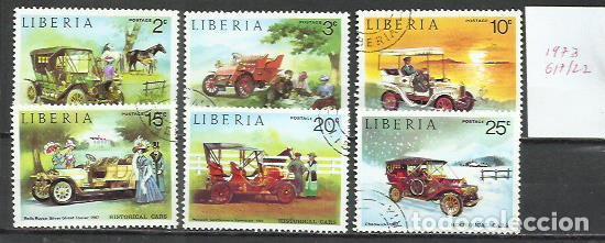 043B-SERIE COMPLETA COCHES EPOCA LIBERIA 1973 Nº 617/22 BONITOS.AUTOMÓVILES (Sellos - Temáticas - Automóviles)