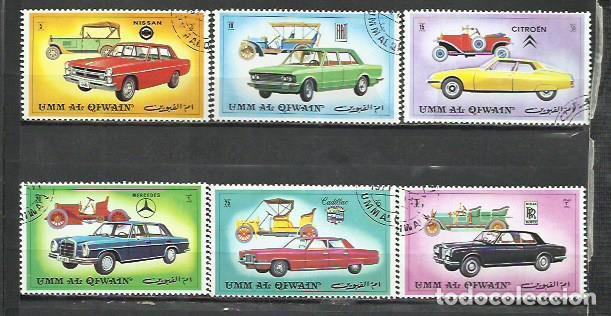 043D-UMM AL QIWAIN COCHES 2 SERIES COMPLETAS ARABIA EMIRATOS 1972 ORDINARIO Y AEREO AUTOMÓVIL (Sellos - Temáticas - Automóviles)