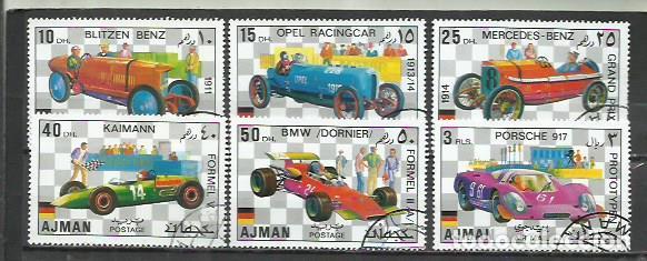 043E-AJMAN COCHES 2 SERIES COMPLETAS ARABIA EMIRATOS 1971 ORDINARIO Y AEREO (Sellos - Temáticas - Automóviles)
