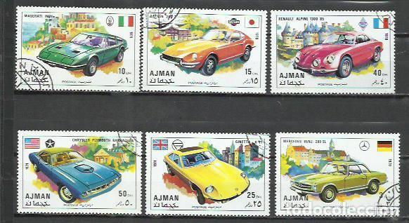 043F-AJMAN COCHES 2 SERIES COMPLETAS ARABIA EMIRATOS 1971 ORDINARIO Y AEREO (Sellos - Temáticas - Automóviles)