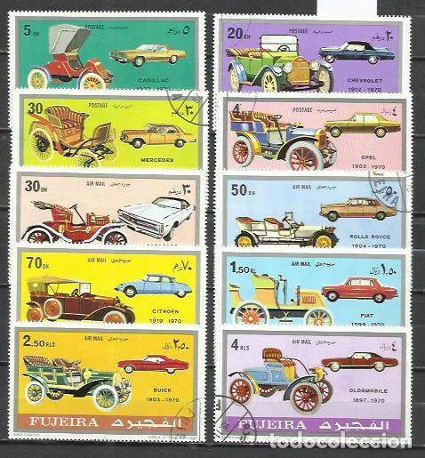 043J-FUJEIRA COCHES EPOCA SERIES COMPLETAS 1971 ORDINARIO Y AEREO (Sellos - Temáticas - Automóviles)