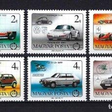 Sellos: 1986 HUNGRÍA YVERT 3041/3046 AUTOMÓVILES, COCHES ANTIGUOS MNH** NUEVOS SIN FIJASELLOS. Lote 245977400