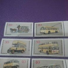 Sellos: SELLOS ALEMANIA, BERLIN NUEVOS/1973/TRASNPORTE/TROLEBUS/AUTOBÚS/DOBLE/ALTURA/TRANVIA/COCHE/CABALLO. Lote 247415440