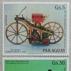 Sellos: 1984. PARAGUAY. A-967, A 969. CENTENARIO MOTOCICLETA: DAIMLER-MAYBACH (1885) Y OPEL (1930). NUEVO.. Lote 248988500