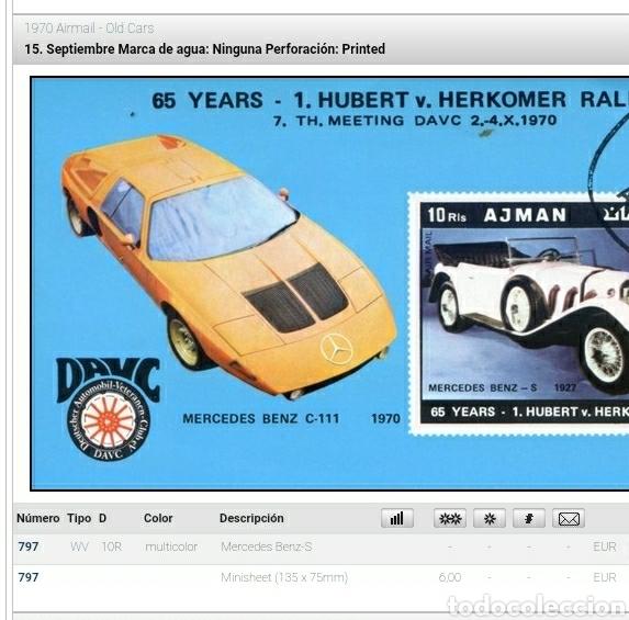 Sellos: HB Ajman (E.A.U) mtdas/1970/coches/antiguos/mercedes/vehiculos/carro/transporte/automovil/ - Foto 2 - 262628725