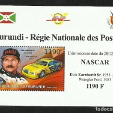 Sellos: BURUNDI 2012 HOJA BLOQUE SELLOS TEMÁTICA AUTOS NASCAR- COCHES AUTOMOVIL- EARNHARDT- WRANGLER FORD. Lote 262654640