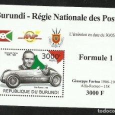 Sellos: BURUNDI 2012 HOJA BLOQUE SELLOS TEMÁTICA AUTOS COCHES PILOTO FORMULA 1 GIUSEPPE FARINA - F1. Lote 262654790