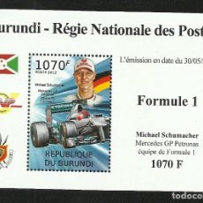 Sellos: BURUNDI 2012 HOJA BLOQUE SELLOS TEMÁTICA AUTOS COCHES PILOTO FORMULA 1 MICHAEL SCHUMACHER - F1. Lote 262654820