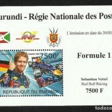 Sellos: BURUNDI 2012 HOJA BLOQUE SELLOS TEMÁTICA AUTOS COCHES PILOTO FORMULA 1 SEBASTIAN VETTEL- F1. Lote 262654850