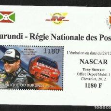 Sellos: BURUNDI 2012 HOJA BLOQUE SELLOS TEMÁTICA AUTOS NASCAR- COCHES AUTOMOVIL- STEWART CHEVROLET. Lote 265383389