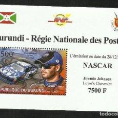 Sellos: BURUNDI 2012 HOJA BLOQUE SELLOS TEMÁTICA AUTOS NASCAR- COCHES AUTOMOVIL- JOHNSON CHEVROLET. Lote 265383574