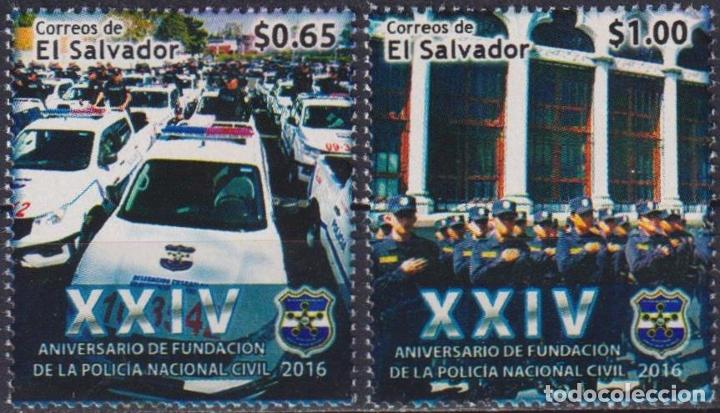 ⚡ DISCOUNT SALVADOR 2016 THE 24TH ANNIVERSARY OF THE NATIONAL POLICE FORCE MNH - CARS, POLIC (Sellos - Temáticas - Automóviles)