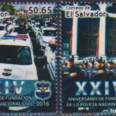 Sellos: ⚡ DISCOUNT SALVADOR 2016 THE 24TH ANNIVERSARY OF THE NATIONAL POLICE FORCE MNH - CARS, POLIC. Lote 267408074