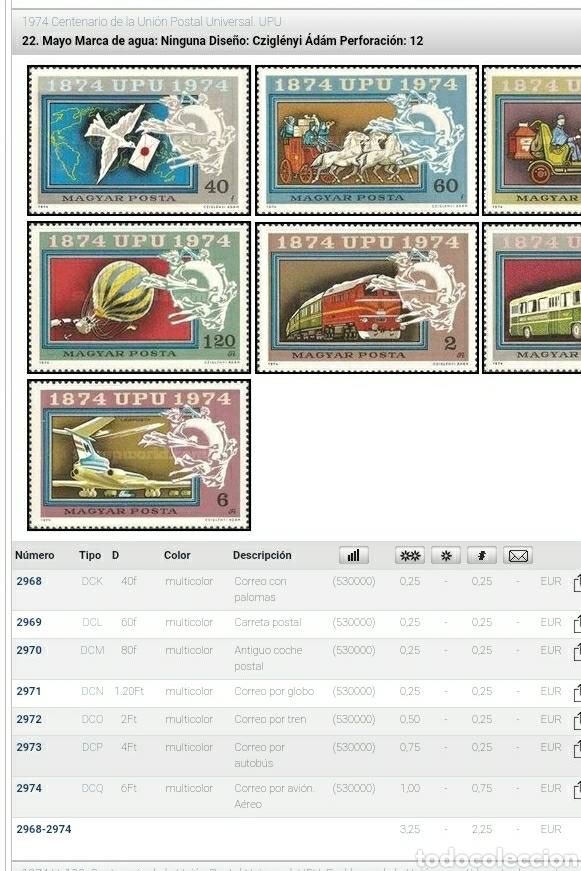 Sellos: Sello Hungría (Magyar P) mtdo/1974/Cent/U.P.U/union/postal/paloma/ave/trenes/globo/dirigible/caballo - Foto 2 - 267643634
