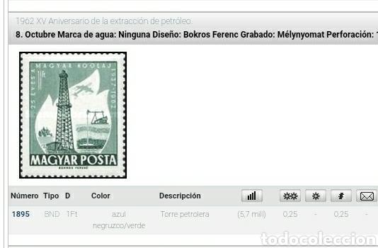 Sellos: Sello Hungría (Magyar P) mtdo/1962/15Aniv/extraccion/petroleo/tractor/avion/aviacion/vuelos/torre/co - Foto 2 - 267903539