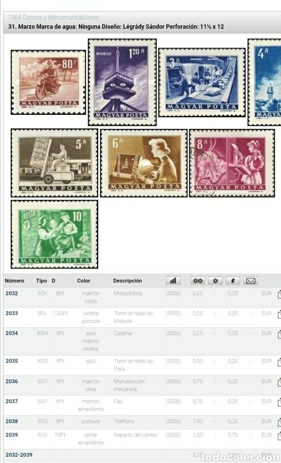 Sellos: Sello Hungría (Magyar P) mtdos/1964/correos/telecomunicaciones/moto/cadena/torre/fax/telefono/ - Foto 2 - 268427919