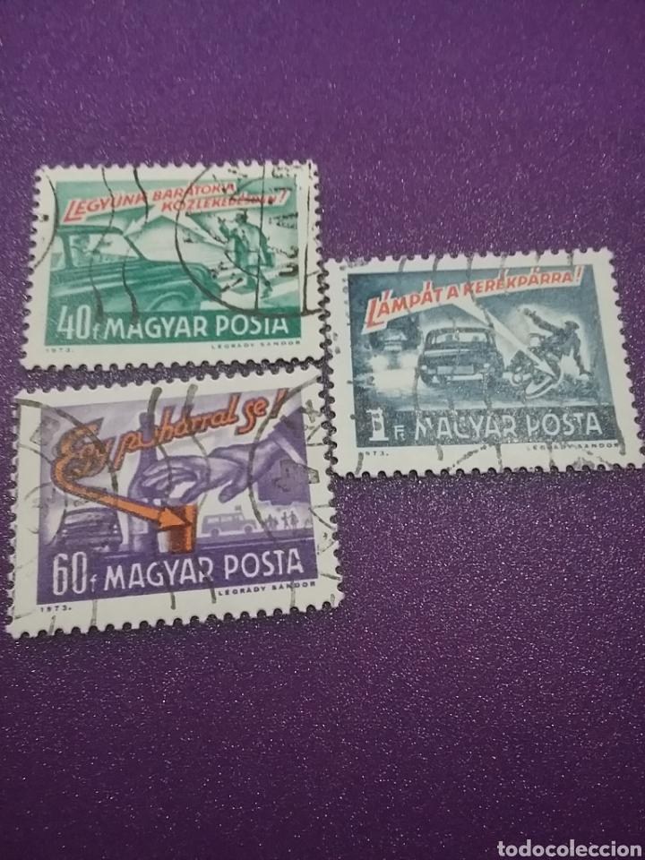 SELLO HUNGRÍA (MAGYAR P) MTDO/1973/SEGURIDAD/VIAL/BEBIDA/VASO/PEATON/COCHE/BICICLETA/TRANSPORTE/CEBR (Sellos - Temáticas - Automóviles)