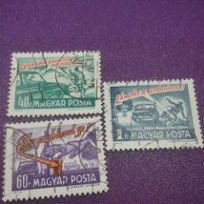 Sellos: SELLO HUNGRÍA (MAGYAR P) MTDO/1973/SEGURIDAD/VIAL/BEBIDA/VASO/PEATON/COCHE/BICICLETA/TRANSPORTE/CEBR. Lote 268761344