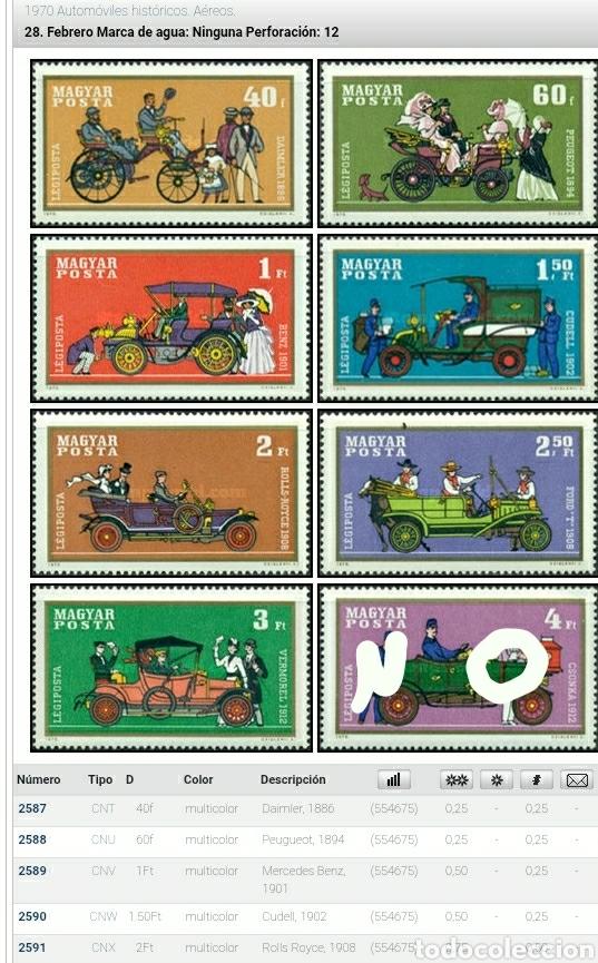 Sellos: Sello Hungría (Magyar P) mtdo/1970/7 de 8 valores/automoviles/clásicos/coches/automovil/triciclo/bic - Foto 2 - 268939769