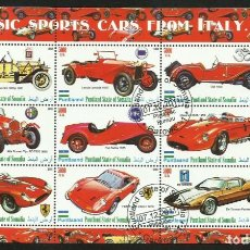 Sellos: SOMALIA 2010 HOJA BLOQUE SELLOS AUTOMOVILES CLASICOS DEPORTIVOS ANTIGUOS ITALIA- AUTOS FERRARI- FIAT. Lote 270655378
