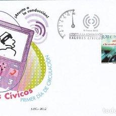 Sellos: EDIFIL 4698, VALORES CIVICOS: ¡ATENTO A LA CONDUCCIÓN!, PRIMER DIA DE 9-1-2012 SFC. Lote 272439393