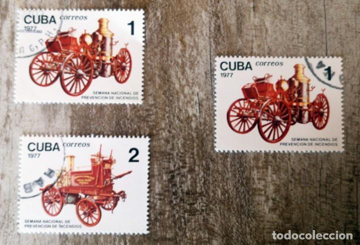 CUBA - 1977 - SEMANA NACIONAL DE PREVENCION DE INCENDIOS - COCHES ANTIGUAS - USADOS (Sellos - Temáticas - Automóviles)