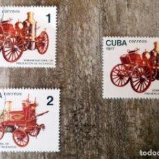 Sellos: CUBA - 1977 - SEMANA NACIONAL DE PREVENCION DE INCENDIOS - COCHES ANTIGUAS - USADOS. Lote 276394593