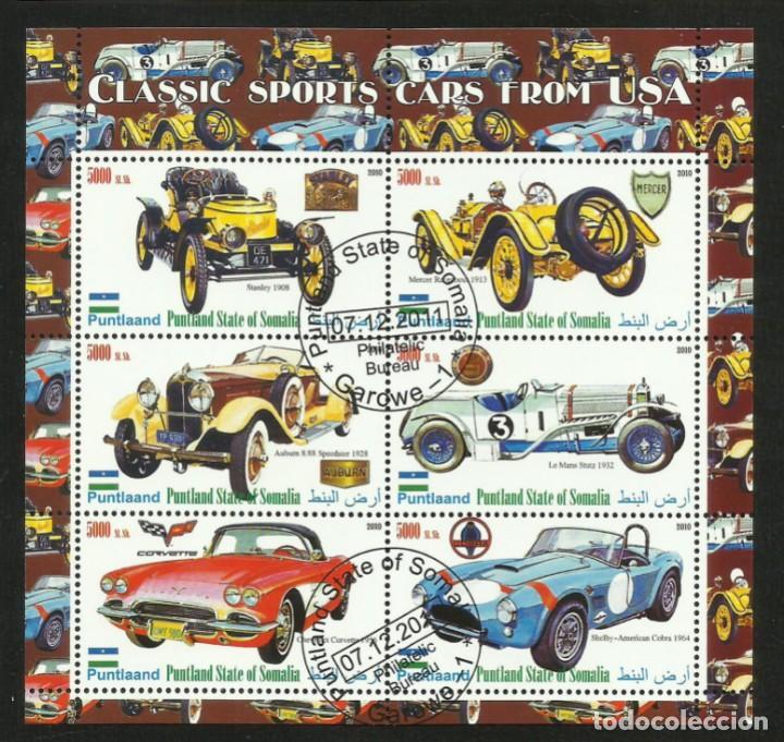 SOMALIA 2010 HOJA BLOQUE SELLOS AUTOMOVILES CLASICOS DEPORTIVOS ANTIGUOS DE EEUU- AUTOS- CARS (Sellos - Temáticas - Automóviles)