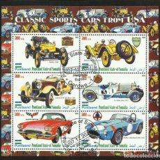 Sellos: SOMALIA 2010 HOJA BLOQUE SELLOS AUTOMOVILES CLASICOS DEPORTIVOS ANTIGUOS DE EEUU- AUTOS- CARS. Lote 276446718