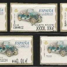 Timbres: 5 ATMS AUTOMÓVIL HUMBER T 1910 EN BLANCO, AJUSTES ANCHO Y ESTRECHO, VALORES 5DE Y 6DE EN EUROS.. Lote 282193258
