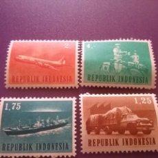 Sellos: SELLO R. INDONESIA NUEVO/1963/TRANSPORTE/TRAFICO/BARCO/BICICLETA/MOTO/AVION/AVIACION/BUQUE/CARTERO. Lote 286650493