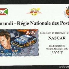 Sellos: BURUNDI 2012 HOJA BLOQUE SELLOS TEMÁTICA AUTOS NASCAR- COCHES AUTOMOVIL- KESELOWSKI- DODGE. Lote 287259468