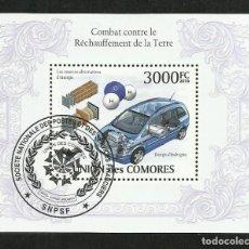 Sellos: UNION DE COMORES 2010 HOJA BLOQUE SELLO TEMATICA AUTOMOVIL AUTOS COCHES ENERGIA DE HIDROGENO. Lote 287259648