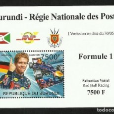 Sellos: BURUNDI 2012 HOJA BLOQUE SELLOS TEMÁTICA AUTOS COCHES PILOTO FORMULA 1 SEBASTIAN VETTEL- F1. Lote 287260018