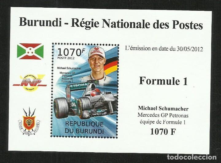 BURUNDI 2012 HOJA BLOQUE SELLOS TEMÁTICA AUTOS COCHES PILOTO FORMULA 1 MICHAEL SCHUMACHER - F1 (Sellos - Temáticas - Automóviles)