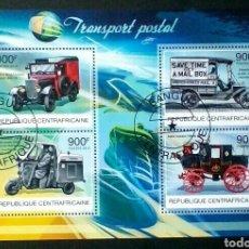 Sellos: TRANSPORTE POSTAL CLASICO HOJA BLOQUE DE SELLOS USADOS DE REPÚBLICA CENTROAFRICANA. Lote 288356198