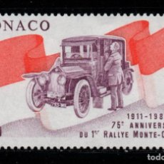 Sellos: MONACO 1534** - AÑO 1986 - AUTOMOVILES - 75º ANIVERSARIO DEL RALLY AUTOMOVILISTICO DE MONTECARLO. Lote 288569678