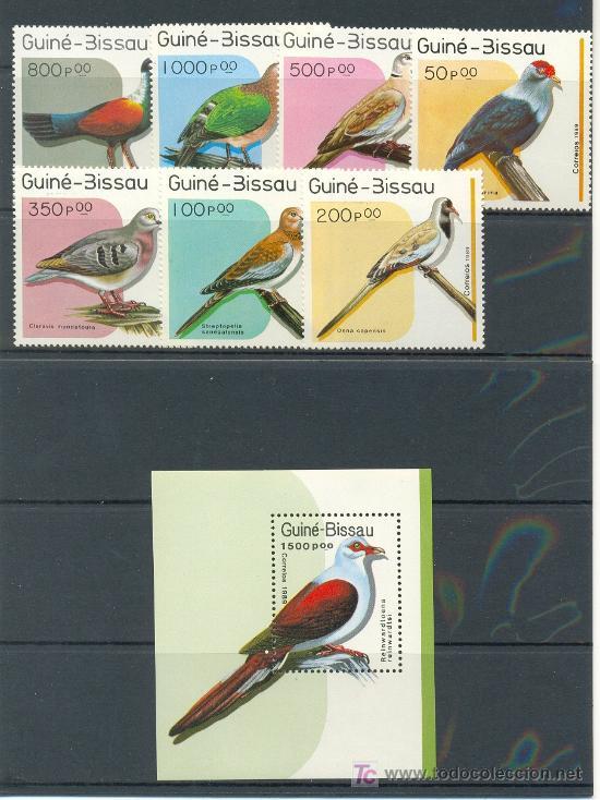 GUINEA BISSAU 1989 FAUNA PAJAROS 7 SELLOS +HB (Sellos - Temáticas - Aves)