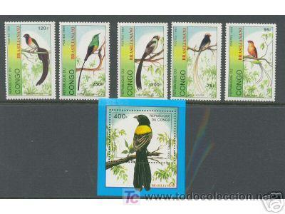 CONGO 1993 FAUNA PAJAROS 5 SELLOS + HOJITA BLOQUE (Sellos - Temáticas - Aves)