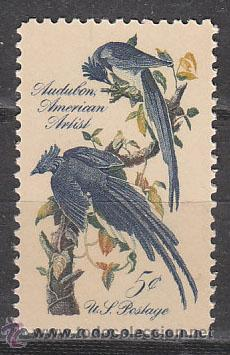 ESTADOS UNIDOS (12-41), ARRENDAJOS DE COLOMBIA, PÁJAROS PINTADOS POR AUDUBON, NUEVO (Sellos - Temáticas - Aves)