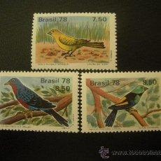 Sellos: BRASIL 1978 IVERT 1310/2 *** FAUNA - AVES. Lote 28037652